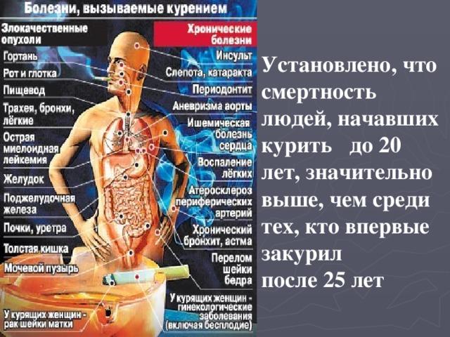 Установлено, что смертность людей, начавших курить до 20 лет, значительно выше, чем среди тех, кто впервые закурил после 25 лет