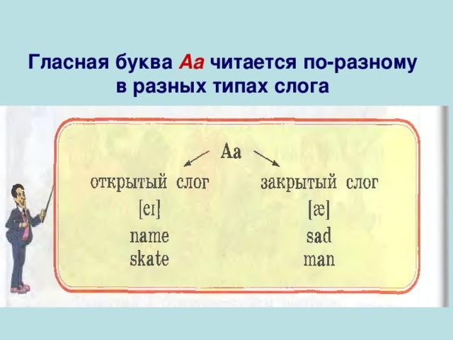 Гласная буква Аа  читается по-разному в разных типах слога