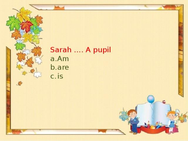 Sarah …. A pupil