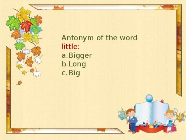 Antonym of the word little: