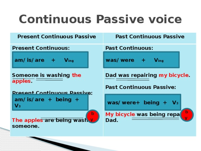 Continuous Passive voice Present Continuous Passive Past Continuous Passive Present Continuous: Past Continuous:  Someone  is washing the apples .  Dad  was repairing my bicycle .   Present Continuous Passive: Past Continuous Passive:         The apples are being washed My bicycle was being repaired someone. Dad. was/ were + V ing am/ is/ are + V ing was/ were+ being + V 3 am/ is/ are + being + V 3 by  by