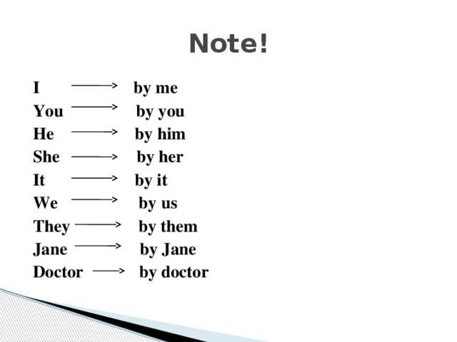 Note! I by me You by you He by him She by her It by it We by us They by them Jane by Jane Doctor by doctor