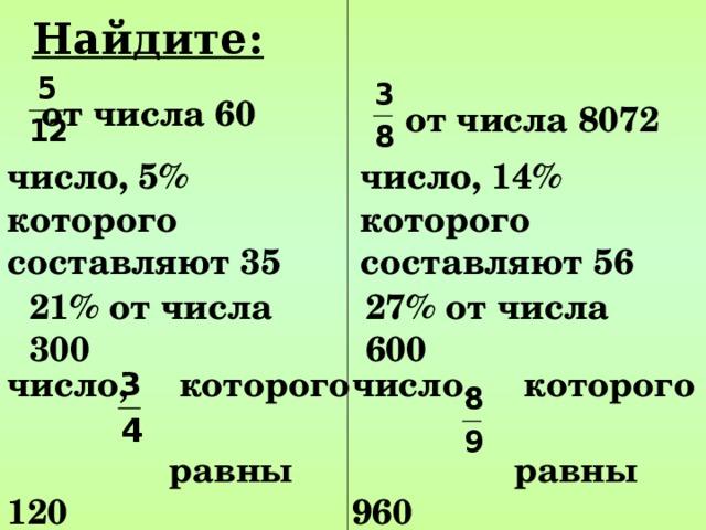 Найдите:  от числа 60   от числа 8072   число, 5% которого составляют 35   число, 14% которого составляют 56   27% от числа 600   21% от числа 300   число, которого  равны 120   число, которого  равны 960