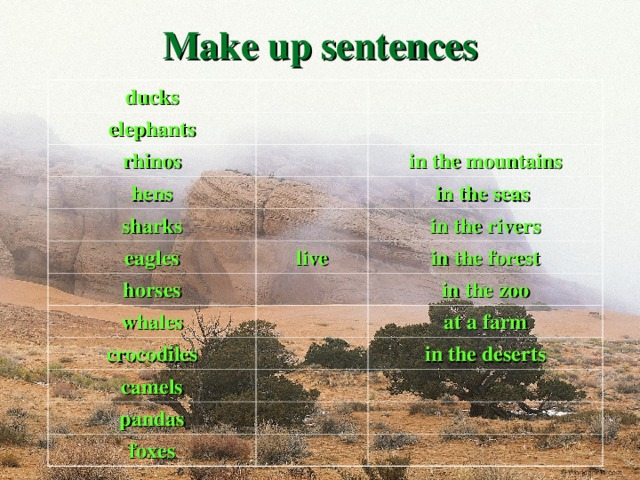 Make up sentences ducks elephants rhinos hens in the mountains sharks eagles in the seas live horses in the rivers in the forest whales in the zoo crocodiles at a farm camels pandas in the deserts foxes  03.11.16