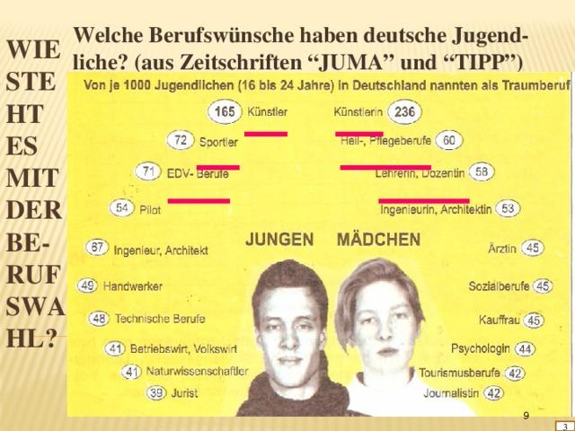 """Welche Berufswünsche haben deutsche Jugend- liche? (aus Zeitschriften """"JUMA"""" und """"TIPP"""") Wie  steht  es  mit  der  Be-  rufswa  hl?  3"""