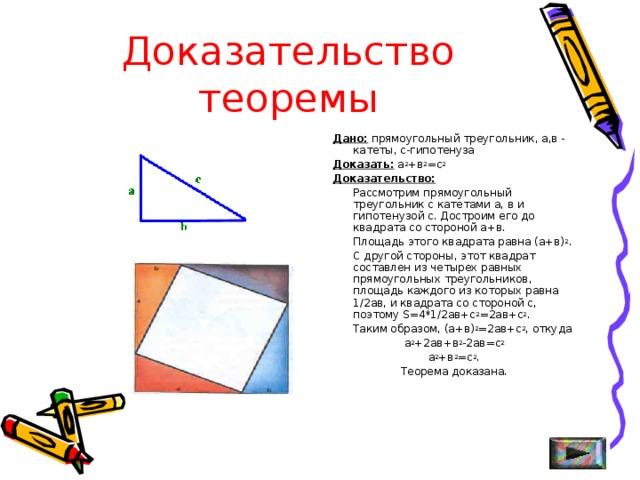 Доказательство теоремы  Дано: прямоугольный треугольник, а,в - катеты, с-гипотенуза  Доказать: а 2 +в 2 =с 2  Доказательство:  Рассмотрим прямоугольный треугольник с катетами а, в и гипотенузой с. Достроим его до квадрата со стороной а+в.  Площадь этого квадрата равна (а+в) 2 .  С другой стороны, этот квадрат составлен из четырех равных прямоугольных треугольников, площадь каждого из которых равна 1/2ав, и квадрата со стороной с, поэтому S =4*1/2ав+с 2 =2ав+с 2 .  Таким образом, (а+в) 2 =2ав+с 2 , откуда  а 2 +2ав+в 2 -2ав=с 2   а 2 +в 2 =с 2 .  Теорема доказана.
