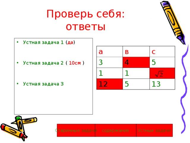Проверь себя:  ответы Устная задача 1 ( да ) Устная задача 2 ( 10см ) Устная задача 3 а в 3 с 4 1 1 5 12 5 13 Устные задачи содержание Старинные  задачи