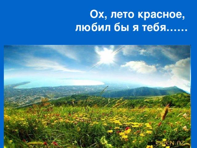 Ох, лето красное,  любил бы я тебя……