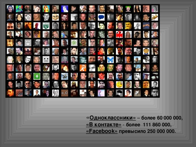 « Одноклассники» – более 60 000 000,  «В контакте» - более 111860 000, « F acebook»  превысило 250 000 000.