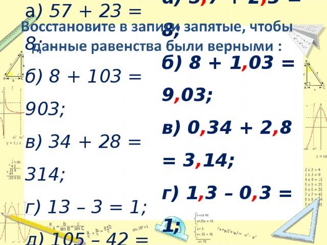 а ) 5 , 7 + 2 , 3 = 8; б) 8 + 1 , 03 = 9 , 03; в) 0 , 34 + 2 , 8 = 3 , 14; г) 1 , 3 – 0 , 3 = 1; д) 10 , 5 – 4 , 2 = 6 , 3. а ) 57 + 23 = 8; б) 8 + 103 = 903; в) 34 + 28 = 314; г) 13 – 3 = 1; д) 105 – 42 = 63.
