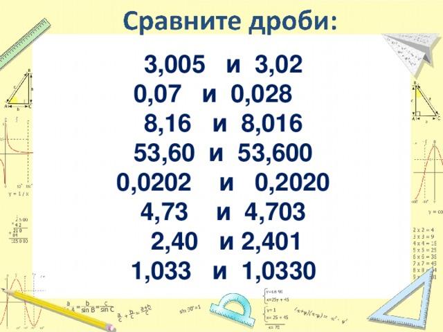3,005 и 3,02 0,07 и 0,028 8,16 и 8,016 53,60 и 53,600 0,0202 и 0,2020 4,73 и 4,703  2,40 и 2,401 1,033 и 1,0330  1,0330