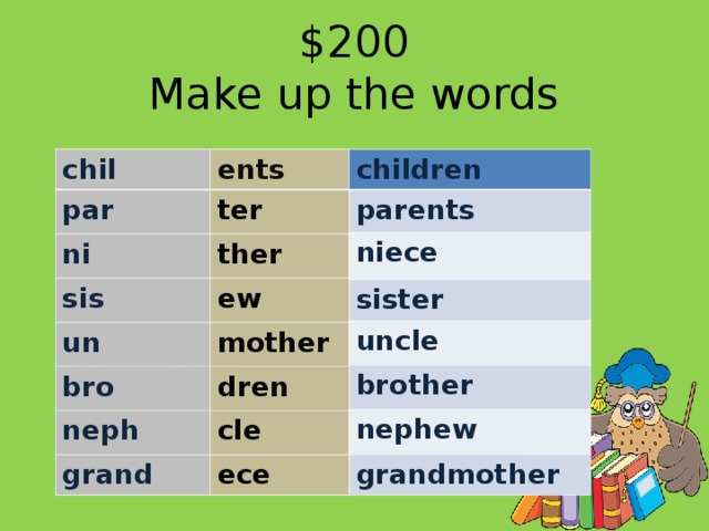 $200  Make up the words children chil parents ents par niece ter sister ni ther sis uncle ew brother un nephew bro mother dren neph grandmother grand cle ece