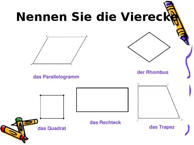 Nennen Sie die Vierecke der Rhombus das Parallelogramm das Rechteck das Trapez das Quadrat