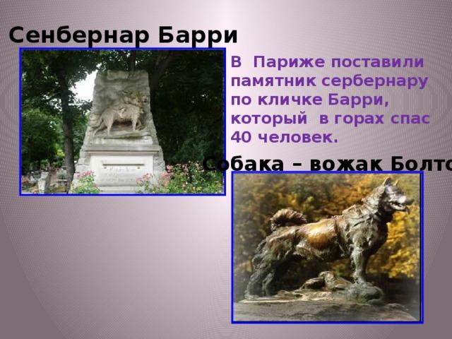 Сенбернар Барри В Париже поставили памятник сербернару по кличке Барри, который в горах спас 40 человек. Собака – вожак Болто