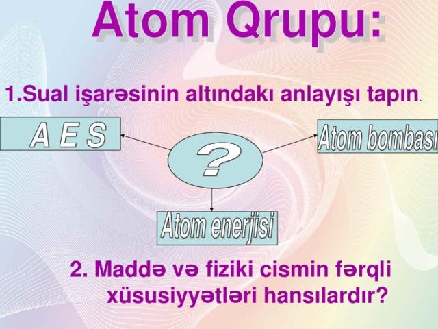 1.Sual işarəsinin altındakı anlayışı tapın . 2. Maddə və fiziki cismin fərqli  xüsusiyyətləri hansılardır?