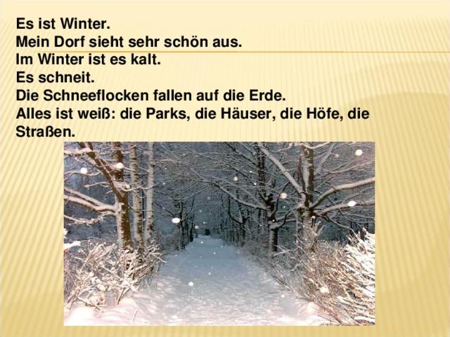 Es ist Winter. Mein Dorf sieht sehr schön aus. Im Winter ist es kalt. Es schneit. Die Schneeflocken fallen auf die Erde. Alles ist weiß: die Parks, die Häuser, die Höfe, die Straßen.