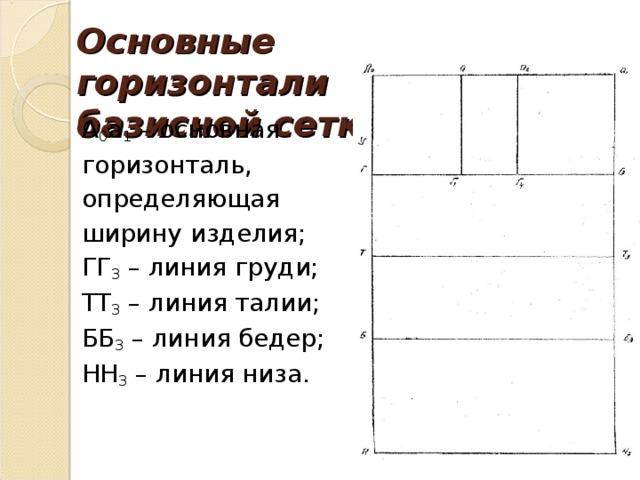 Основные горизонтали базисной сетки: А 0 а 1 – основная горизонталь, определяющая ширину изделия; ГГ 3 – линия груди; ТТ 3 – линия талии; ББ 3 – линия бедер; НН 3 – линия низа.