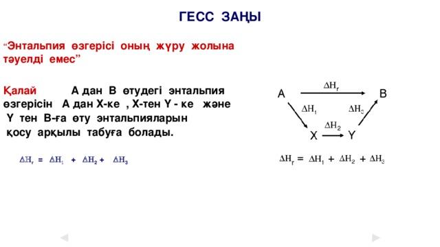"""ГЕСС ЗАҢЫ """" Энтальпия өзгерісі оның жүру жолына тәуелді емес""""  Қалай  А дан В өтудегі энтальпия өзгерісін А дан Х-ке , Х-тен Y - ке және  Y тен В-ға өту энтальпияларын  қосу арқылы табуға болады.   DH r = DH 1 + DH 2 + DH 3"""