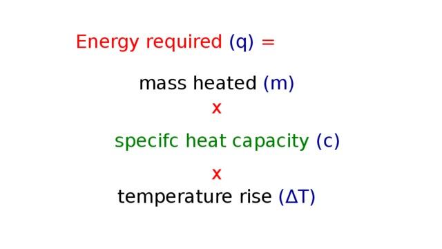Energy required (q) = mass heated (m)  x  x  temperature rise (∆T)  specifc heat capacity  (c)