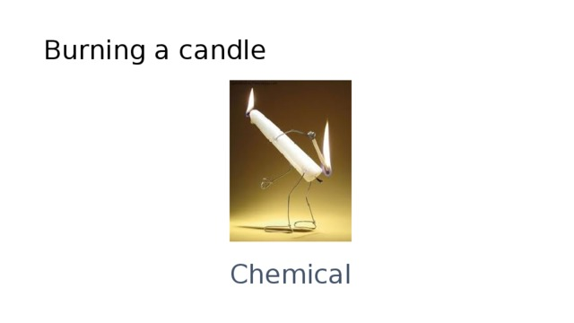 Burning a candle Chemical