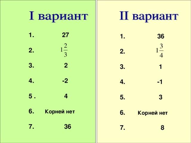 1.  27  2.  3. 2  4. -2  5 . 4  6. Корней нет  7. 36  1. 36  2.  3. 1  4. -1  5. 3  6. Корней нет  7. 8  17