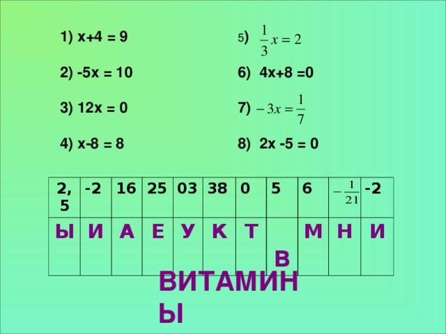 5 )  6) 4х+8 =0  7)  8) 2х -5 = 0 1) х+4 = 9  2) -5х = 10  3) 12х = 0  4) х-8 = 8  2,5 Ы -2 16 И 25 А Е 03 У 38 0 К Т 5  В 6 М -2 Н И ВИТАМИНЫ