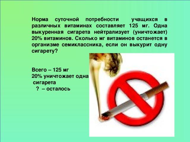 Норма суточной потребности учащихся в различных витаминах составляет 125 мг. Одна выкуренная сигарета нейтрализует (уничтожает) 20% витаминов. Сколько мг витаминов останется в организме семиклассника, если он выкурит одну сигарету?   Всего – 125 мг 20% уничтожает одна  сигарета  ? – осталось