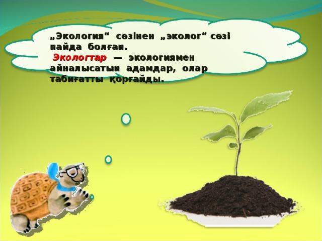 """"""" Экология"""" сөзінен """"эколог"""" сөзі пайда болған.  Экологтар — экологиямен айналысатын адамдар, олар табиғатты қорғайды. 5"""