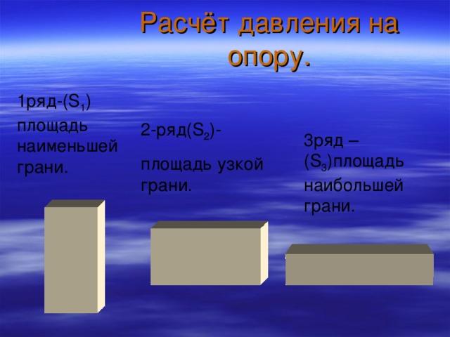 Расчёт давления на опору. 1ряд-( S 1 ) площадь наименьшей грани. 2-ряд( S 2 )- площадь узкой грани. 3ряд –( S 3 ) площадь наибольшей грани.