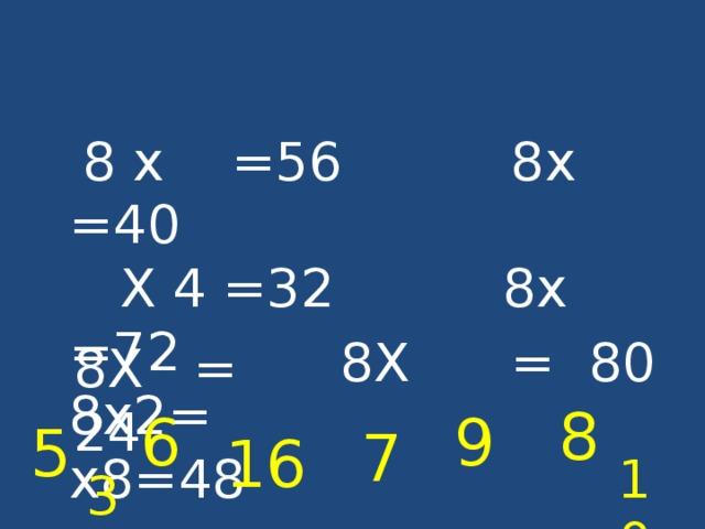 8 х =56 8х =40  Х 4 =32 8х =72  8х2= х8=48 8Х = 80 8Х = 24 8 6 9 5 7 16 10 3