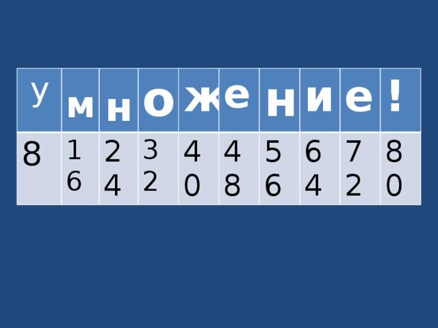 у  8 м  16 н о 24 32 ж е 40 н 48 и 56 е 64 ! 72 80