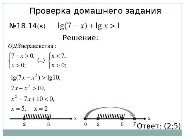 Проверка домашнего задания № 18.14 (в) Решение: IIIIIIIIIIIIIIII IIIIIIIIIIIIIIII x x 7 Ответ: (2;5) 5 2 2 5 0