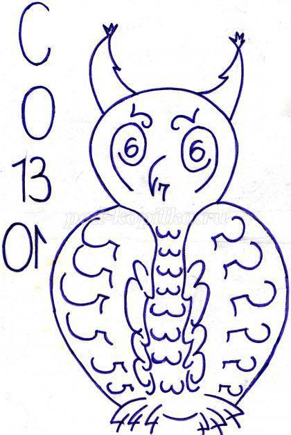 Картинками сова из цифр