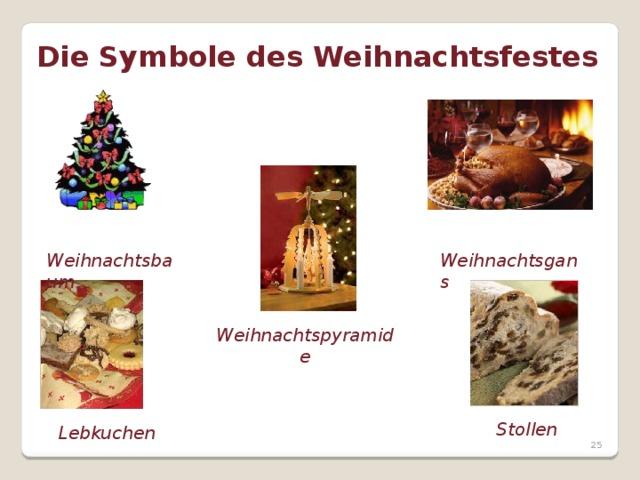 Die Symbole des Weihnachtsfestes  Weihnachtsbaum  Weihnachtsgans Weihnachtspyramide  Lebkuchen Stollen