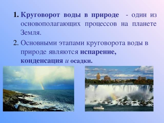 Круговорот воды в природе - один из основополагающих процессов на планете Земля. Основными этапами круговорота воды в природе являются испарение, конденсация и осадки.