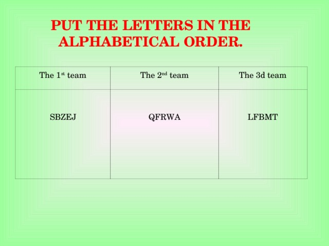 PUT THE LETTERS IN THE ALPHABETICAL ORDER. The 1 st team The 2 nd team SBZEJ The 3d team QFRWA LFBMT