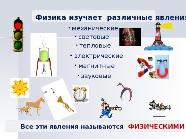 Физика изучает различные явления :  механические  световые  тепловые  электрические  магнитные  звуковые Все эти явления называются ФИЗИЧЕСКИМИ