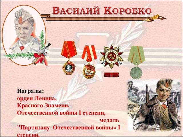 Награды:  орден Ленина, Красного Знамени, Отечественной войны I степени, медаль