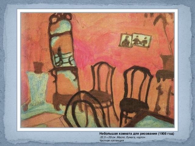 Небольшая комната для рисования (1908 год) .22,5 × 29 см .Масло, бумага, картон  Частная коллекция