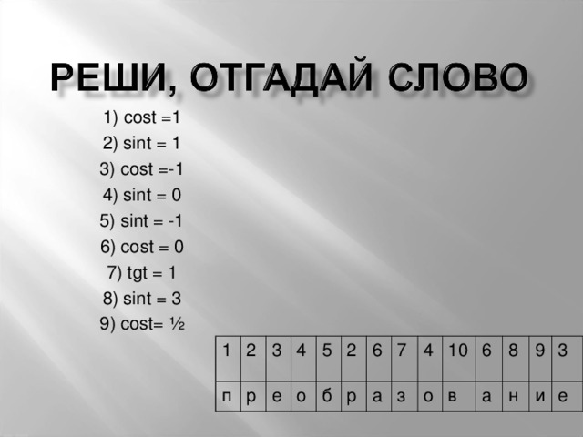 1) cost =1 2) sint = 1 3) cost =-1 4) sint = 0 5) sint = -1 6) cost = 0 7) tgt = 1 8) sint = 3 9) cost= ½ 1 п 2 3 р е 4 5 о б 2 6 р а 7 4 з о 10 в 6 а 8 9 н и 3 е