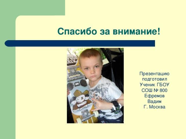 Спасибо за внимание! Презентацию подготовил Ученик ГБОУ СОШ № 800 Ефремов Вадим Г. Москва
