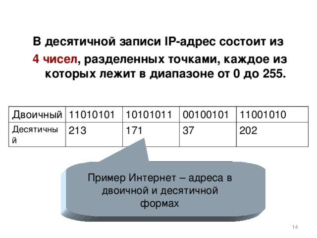 В десятичной записи IP -адрес состоит из 4 чисел , разделенных точками, каждое из которых лежит в диапазоне от 0 до 255. Двоичный Десятичный 11010101 10101011 213 00100101 171 11001010 37 202 Пример Интернет – адреса в двоичной и десятичной формах