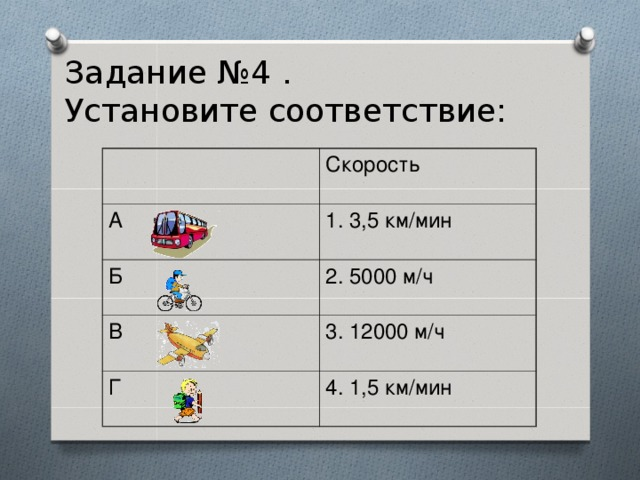 Задание №4 .  Установите соответствие: Скорость А 1. 3,5 км/мин Б 2. 5000 м/ч В 3. 12000 м/ч Г 4. 1,5 км/мин