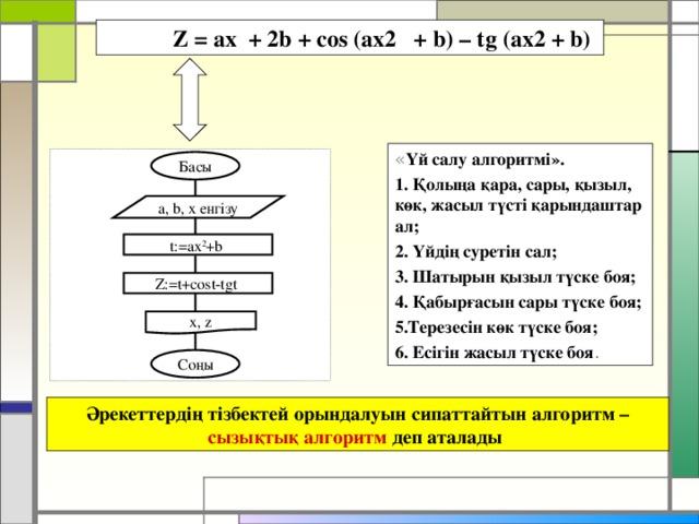 Z = ax + 2b + cos (ax2 + b) – tg (ax2 + b)  « Үй салу алгоритмі». 1. Қолыңа қара, сары, қызыл, көк, жасыл түсті қарындаштар ал; 2. Үйдің суретін сал; 3. Шатырын қызыл түске боя; 4. Қабырғасын сары түске боя; 5.Терезесін көк түске боя; 6. Есігін жасыл түске боя . Басы a, b, x енгізу t:=ax 2 +b Z:=t+cost-tgt x, z Соңы Әрекеттердің тізбектей орындалуын сипаттайтын алгоритм – сызықтық алгоритм деп аталады
