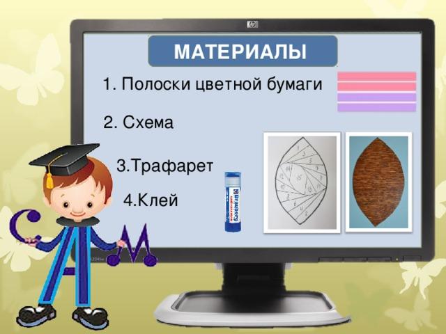 МАТЕРИАЛЫ 1. Полоски цветной бумаги 2. Схема 3.Трафарет 4.Клей