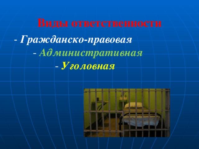 Виды ответственности - Гражданско-правовая  - Административная  - Уголовная