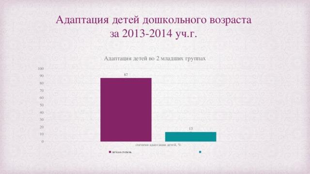 Адаптация детей дошкольного возраста  за 2013-2014 уч.г.
