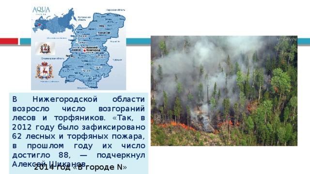 В Нижегородской области возросло число возгораний лесов и торфяников. «Так, в 2012 году было зафиксировано 62 лесных и торфяных пожара, в прошлом году их число достигло 88, — подчеркнул Алексей Шиканов. 2014 год «В городе N»