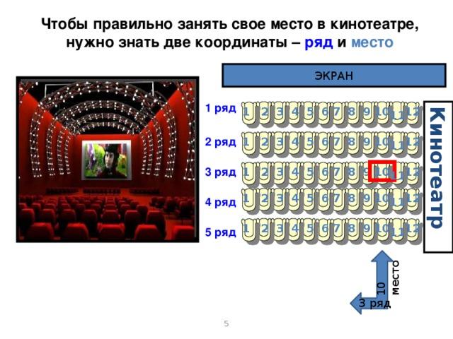 Кинотеатр 10 место Чтобы правильно занять свое место в кинотеатре, нужно знать две координаты – ряд и место ЭКРАН 1 ряд 7 1 4 3 2 12 10 9 8 5 6 11 6 2 ряд 12 5 4 3 2 1 7 8 9 10 11 10 9 12 7 1 2 3 4 6 5 3 ряд 8 11 8 12 1 5 4 3 2 7 9 10 6 4 ряд 11 7 12 10 9 8 4 1 2 3 5 6 5 ряд 11 3 ряд