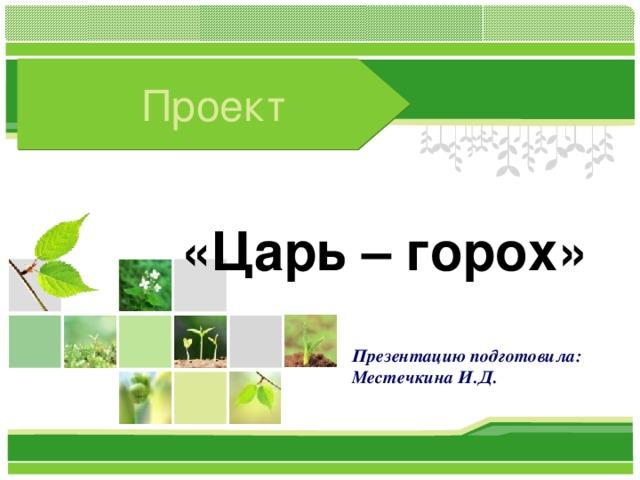 Проект «Царь – горох» Презентацию подготовила: Местечкина И.Д.